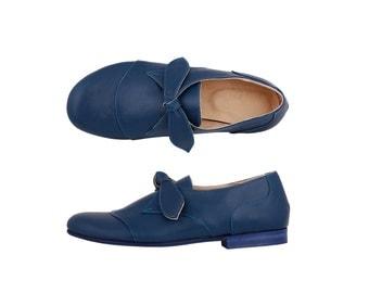 Leather Shoes blue women's flats handmade ADIKILAV , ON SALE 20%