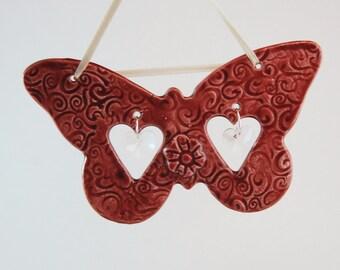 Porcelain Butterfly Birthstone Sun Catcher, Butterfly Sun Catcher, Cherry Butterfly, Lace Window Decoration, Butterfly Home Decor, Valentine