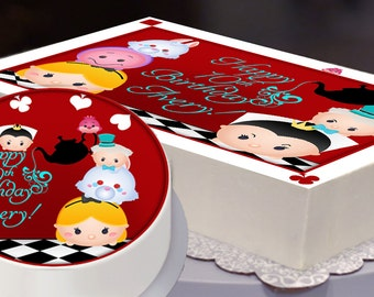 Edible Cake Topper, Alice in Wonderland, Tsum Tsum Party, Tsum Tsum Birthday, Tsum Cake Topper, Disney