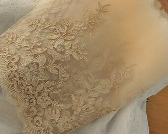 gold alencon lace fabric trim