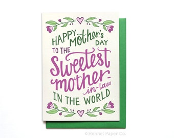 Mother-in-law Mothers Day Card - Sweetest Mother-in-law in the World - Happy Mothers Day