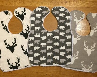 Baby/Toddler Chenille Bibs - Set of 3 - Animal Theme -Perfect for Girls and Boys -