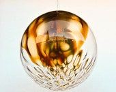 20% OFF Mid Century Glass Globe Pendant Lamp / Chandelier / Bubble Ceiling Lamp / Amber Bubbled Glass