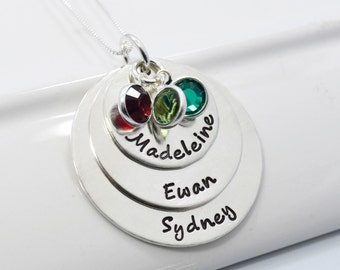 Mommy of Three Hand Stamped Personalized Necklace