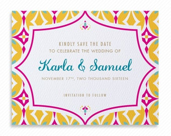 Mexican Tile Printable Save the Date with Print-at-Home Wedding Invitation Suite and Print-ready Information Card