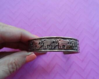 Copper elephant row cuff  bracelet