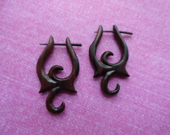 Wood tribal  fake gauge pin  earrings