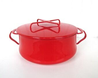 Excellent Dansk Kobenstyle Red Enamel Dutch Oven, Vintage Medium Sized Covered Enamel Pot, France