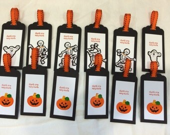 Halloween Party tags set of 12 homemade USA party tags thank you tags, goodie bag tags pumpkin skeleton ghost