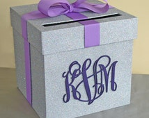 """Bling Wedding Card Box 9""""w x 9""""h  With Monogram Choose Your Colors"""