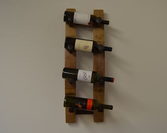 Wine Barrel Stave Wine Rack with Re-claimed Railroad Spikes