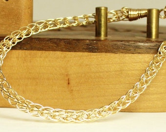 Chain bracelet, gold filled bracelet, handcrafted artisan jewelry, unique gift for women, Viking knit chain bracelet, Viking bracelet