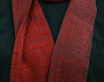 Handwoven rusty red tencel scarf
