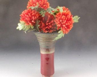 Handmade Stoneware Pottery Wall Pocket  Vase Plum and Brown by Mark Hudak