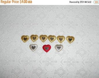 FABRIC SALE Vintage Embroidered Hearts Mirror Applique Lot 9pcs
