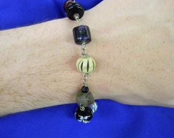 "Sterling Silver 925 Exciting Bead Bracelet 8"" Long ET 6143"