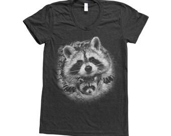 RACCOON Shirt  Screen Print Tri-Blend Short Sleeve Available: S, M, L, XL