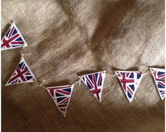 British Union Jack Bunting. Hand Painted Shabby Chic Wooden Bunting. Hung with Twine.