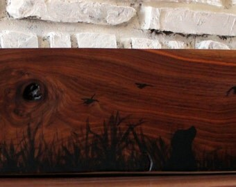silhouette duck painting, duck hunt, dog watching ducks by waters edge on walnut log, fireplace Mantel,decor Lodge decor