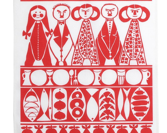 Swedish Christmas Tea Towel Marianne Westman Jul Mid Century MOdern