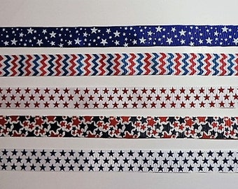 4th of July ribbon variety pack - 25 total yards - 5 yards of each of the 5 styles shown