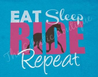 Eat Sleep Ride Repeat Horse T-Shirt