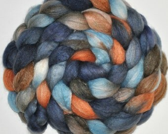 Baby Camel Down, 21.5 Micron Merino and Bombyx Silk combed top hand dyed - 5.33 Ounces - Men in Tweed roving