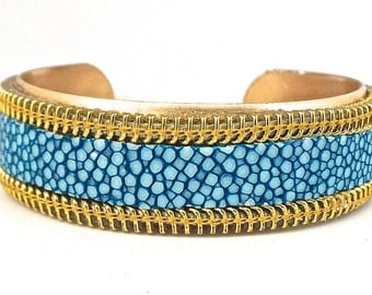 Gold turquoise galuchat and bias zipper bracelet