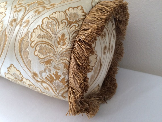 Decorative Bolster Pillow Covers : Gold Damask Bolster Pillow Cover Tan Damask Decorative