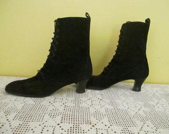 Black Suede Granny Boots Period Faire Festival Theater Boot Laces Rock Star Fair Party Show Costume
