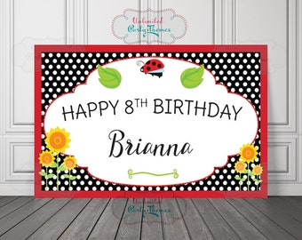 PRINTED, Ladybug Birthday Banner, Lady Bug Party Decorations, Birthday Backdrop, Cake Table, Poster, Party Sign