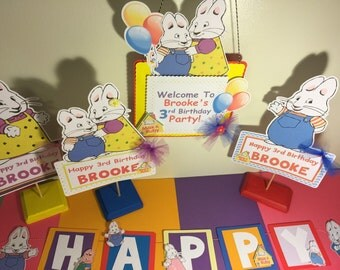 Max and Ruby Happy Birthday Banner with name and age