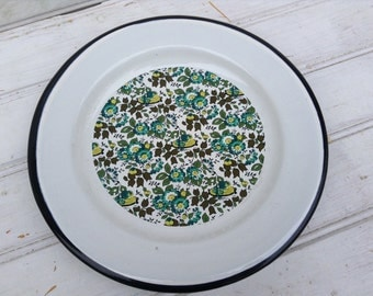White enamelware plate with green and blue floral design.  Home Decor.  Vintage enamelware dish. (C057)