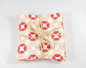 Quilted Coasters Multiple Prints 4 Pack, Pink and Red