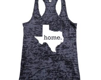 Texas Home Burnout Racerback Tank Top - Women's Workout Tank Top
