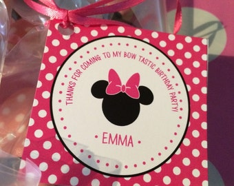 Minnie Mouse Favor Tags / Minnie Mouse Gift Tag / Minnie Mouse Party / Minnie Mouse Birthday / Minnie Mouse Printable