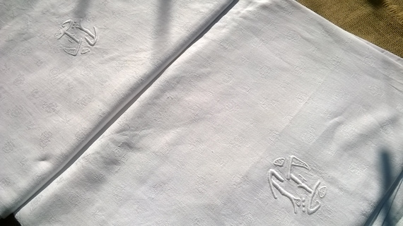 Long White Damask Tablecloth Antique French Cotton Tablecloth 8 - 10 pers #sophieladydeparis