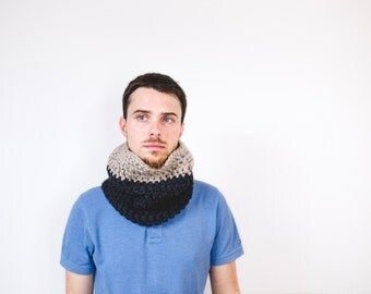 Men's  Scarf, Chunky Scarf for Mens, Circle Scarf, Infinity Scarf, Snood, Winter Accessories - Chunky Cowl Neckwarmer - The Selkirk / Pewter