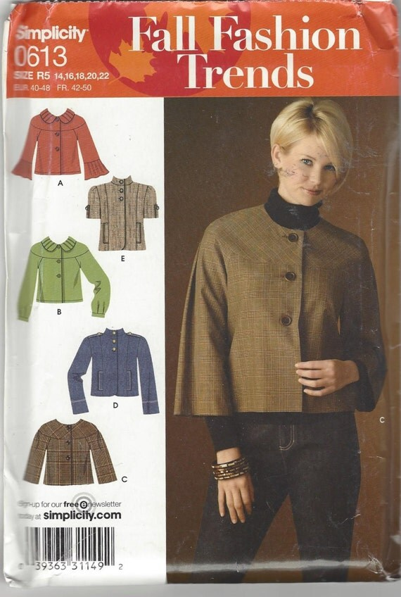 Simplicity 0613 Fall Fashion Trends Misses' Jackets Sewing