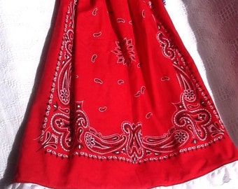 Patriotic bandana toddler dress, pillowcase red white blue, top