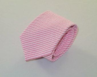 Pink Seersucker Tie