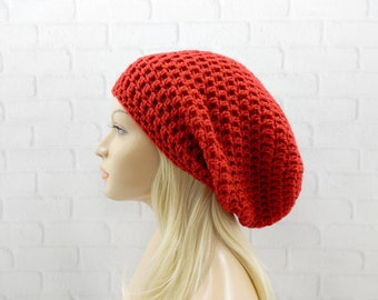 Red Slouchy Beanie, Red Beanie, Red Crochet Beanie, Red Slouchy Hat, Red Crochet Hat, Red Winter Hat, EXTRA Slouchy Beanie