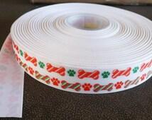 "Christmas Ribbon Dog Bone Print grosgrain ribbon 7/8"" bone grosgrain ribbon"