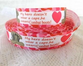 Hero ribbon 1 inch hero ribbon combat boots 1 inch  ribbon my hero wears combat boots