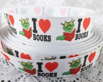Love books ribbon love to read ribbon 7/8 story ribbon I love books Grosgrain Ribbon