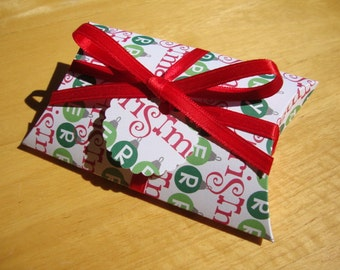 SALE - Christmas Pillow Boxes - Qty: 10 - Party Favors - Treat Boxes - Gift Boxes - Stocking Stuffers
