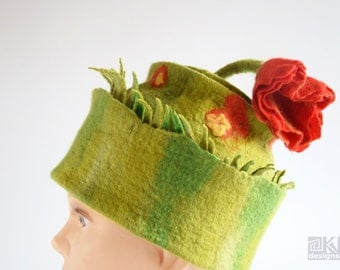 Green wool hat, hand felted hat, red poppy hat, wet felted hat, funky green hat, felted flower hat, felt sculptural hat, green and red hat