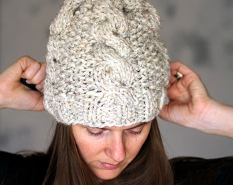 Cable Knit Hat Knitting Pattern - SERENDIPITY - a set of INSTRUCTIONS to knit the matching collection