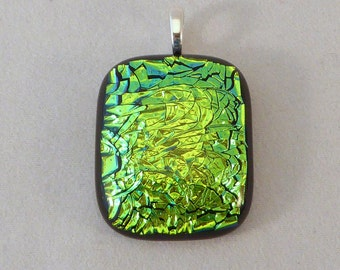 Green Dichroic Fused Glass Pendant, Fused Glass, Fused Glass Pendant, Glass Pendant, Dichroic Pendant, Dichroic, Dichroic Jewelry, Green