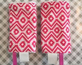 Reversible Baby Carrier Drool pads: hot pink aztec print + chenille